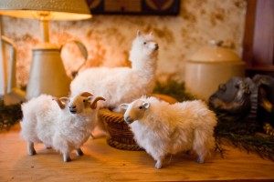 English ewes and fluffy alpacas corralled in a vignette beneath a lamp freshen up your interior landscapes