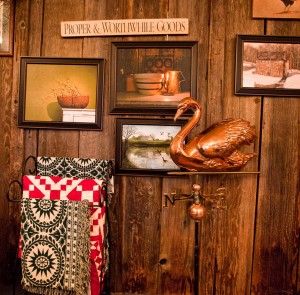Don't forget to head upstairs at American at Heart, where you'll find framed prints, quilts, signs and weathervanes, among countless other items.