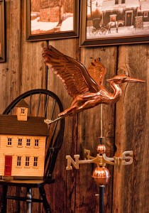 "The Great Blue Heron weathervane depicts the ""crane-like"" bird common to the Pacific Northwest."